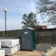 Portable loo on building site